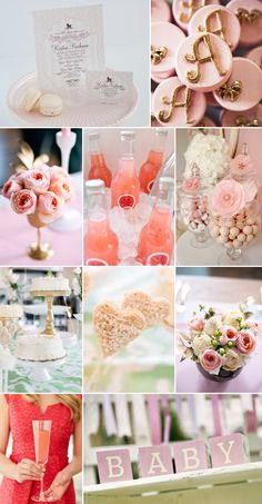 Pink, Ivory, and Gold Baby Shower Inspiration along with an Easy DIY Centerpiece with Garden Roses from FiftyFlowers.com