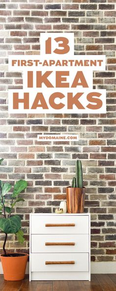Can you say weekend projects? You're going to want to do all of these Ikea Hack Chair, Ikea Hack Nightstand, Ikea Hacks, Diy Hacks, Apartment Furniture, Apartment Hacks, Ikea Furniture, Apartment Living, First Apartment Decorating, Home Improvements, Wall, Bedrooms, 1st Apartment, Ikea Ideas, Brick, Sideboard, Sweet Home, Home Decoration, Interiors, New Homes