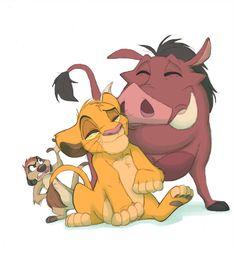 Timon, Simba, and Pumba Roi Lion Simba, Lion King Timon, Simba And Nala, Lion King Movie, Le Roi Lion Disney, Disney Lion King, Disney Art, Lion King Pictures, Lion King Drawings