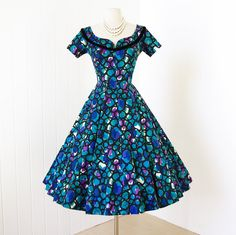 vintage 1950's dress ...pretty SUZY PERETTE cotton abstract watercolor bubbles print full skirt pin-up cocktail party dress