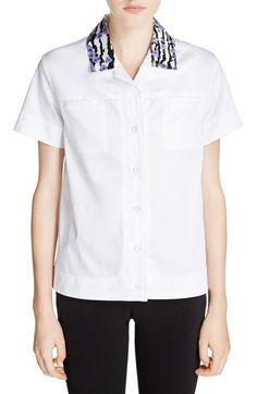 CARVEN Embellished Collar Poplin Shirt. #carven #cloth #