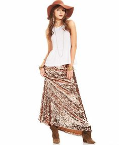 Free People Skirt, Sequin A-Line Maxi
