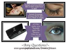 Tired of the hassle and expense of extensions. 3D Fiber mascara will give you the look without the hassle. Only $29 for a 3 month supply  www.youniquproducts.com/CressidaJohnson
