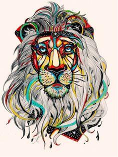 Lion tattoo.