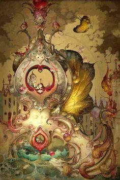 Daniel Merriam's Watercolors of Extravagant, Whimsical Worlds Art And Illustration, Arte Peculiar, Art Fantaisiste, Jugendstil Design, Art Sculpture, Fairytale Art, Inspiration Art, Pop Surrealism, Fantastic Art