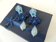 Blue dangle earrings Blue hand embroidered Earrings by anatydesign