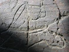 The two heads of a horse in Fariseu rock 1, Coa Valley, Portugal. This is a method often used in the Upper Palaeolithic Coa Valley rock art (www.arte-coa.pt) to depict motion