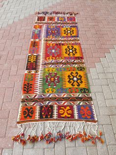 TURKISH KILIM  Hand Woven Turkish Rug Runner Kilim Runner Carpet Runner. $285.00, via Etsy.