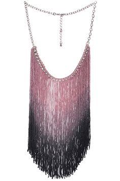 ROMWE | ROMWE Diamante Tassels Gradient Pink Necklace, The Latest Street Fashion