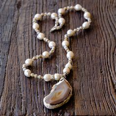 Long Agate Necklace W/ Fresh Water Pearls