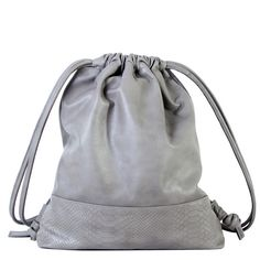 leather drawstring backpack taupe python bottom1