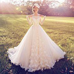 Balowa+Suknia+ślubna+Tren+w+stylu+sądowym+Odsłonięte+ramiona+Koronka+z+–+EUR+€+195.99