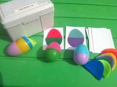 Do you have plastic eggs stashed away from Easter? Well dig them out and make this:    I made a sheet of egg templates for you to print and cut out into nine squares. Then, cut out felt eggs that match whatever color plastic eggs you have and you have a fantastic game to teach your little colors, sorting, and matching. It all stores quite neatly into a recipe box.