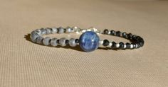 Kyanite Bracelet, Labradorite Bracelet, Gemstone Bracelet, Black Bracelet, Blue Bracelet, Modern, Contemporary by ThreeMagicGenies on Etsy