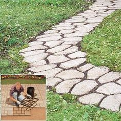 Pathmate Stone Molds to create cobblestone path with homemade  colored cement and add some natural stones in the path as well.