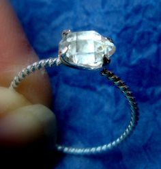 Ring - Herkimer diamond rough in eco-friendly recycled sterling silver emerald setting - size 6.5 to 7 - Ukraine Adoption fund raiser