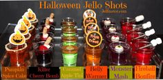 Happy Halloween from your fiends at The Jellinator! Let's not scare away our party ghosts with scary-tasting jello shots. Let's give them treats, not tricks Halloween Cocktails, Halloween Desserts, Halloween Tags, Halloween Jello Shots, Hallowen Food, Halloween Food For Party, Halloween Birthday, Halloween Jelly, Halloween Drinking Games