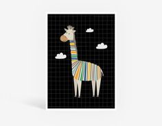 Tyler Giraffe Printable Poster - Kids Wall Art, Animal Illustration, Kid's Bedroom, Playroom, Nursery, Digital Print, Animal Art, Kids Decor