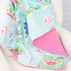 Allie's Pink & Aqua Floral Baby Quilt