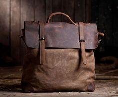 Umhängetasche/Schultertasche/Handtasche ist aus echtem dickem Rindsleder und Canvas genäht.