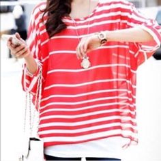 """RED BOHO BATWING TOP Trendy!! Stylish!! Red and white stripes with batwing sleeves. Chiffon fabric. Back length: 27"""" Front length: 25"""" Arm opening 6"""" OSFM. Effortless for the Warner months or vacation. Bon voyage. Wear this with your favorite tank underneath and you're ready. -No trades. (2) Tops"""