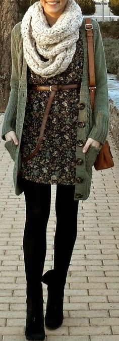 Circle Scarf + Floral Dress
