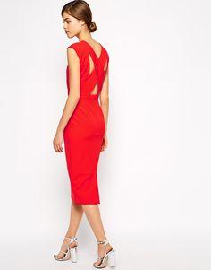 Warehouse Tuck Neck Midi Dress