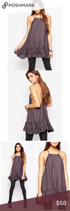 FREE PEOPLE Raven Slip Dress Lightweight Silky Mini Slip Dress with Low Racerback. Double Tired Ruffled Skirt. Can be worn as dress or layering as slip under clothes. Color: Charcoal  Material: 100% Polyester TRADING PAYPAL Free People Dresses Mini