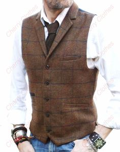 MENS BROWN CHECK COLLAR LAPEL TWEED WAISTCOAT VEST WOOL BLEND - TAILORED FIT