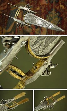 Combination of Katar Dagger & Flintlock Pistol Dated: probably 18th century Culture: Indian Medium: steel, brass, gold Source: Copyright © 2013 Historical Arms & Armor