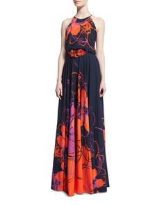 Floral-Print Halter Gown w/Beaded Applique by Badgley Mischka at Neiman Marcus.