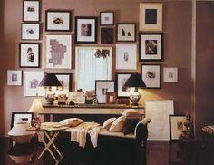 Thomas O'Brien. love the mixed frames and black lampshades