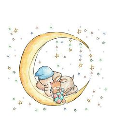 Elephant and Bunny Under the Moon