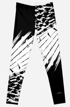 Spiked Palm Leggings by Polka Dot Studio, new, black and white #graphic #palm leaf #tropical #abstract design for #fashion #apparel for #her. Comfortable and stylish, perfect for #travel to #leisurewear to #yoga to social events. Coordinating products available whether #T-shirts to #pouches to #journals.