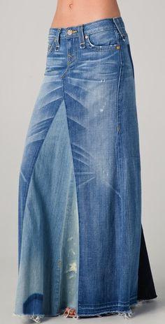saia longa denin essa pode ser usada por mulheres de todas as alturas ....mesmo as baixas...com uma tank top e um coat sempre a maos.  True Religion Dakota Love & Haight Skirt $283