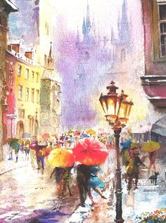 Print from Original Watercolor Painting Cityscape Art tittled Rainy Day