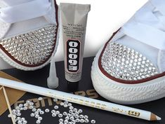 Customise Bling your Converse with Our & Swarovski Crystal DIY Kits Zapatos Bling Bling, Rhinestone Converse, Bling Shoes, Glitter Shoes, Prom Shoes, Diy Crystals, Swarovski Crystals, Black Crystals, Converse Brillantes