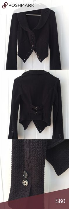 Betsey Johnson Jacket Totally cool black Betsey Johnson jacket. Size small. This jacket is in excellent condition. The details are amazing. 96 percent Cotton 4 percent Spandex. Dry clean only. Betsey Johnson Jackets & Coats