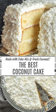 Cakes Puddings Trifles Cobblers etc. Note: Pies Cupcakes Cookies Bars & Candy posted on separate boards Coconut Cake Frosting, Sour Cream Coconut Cake, Coconut Cake Easy, Coconut Desserts, Coconut Recipes, Lemon Desserts, Easy Desserts, Three Layer Coconut Cake Recipe, Best Coconut Cake Recipe Ever