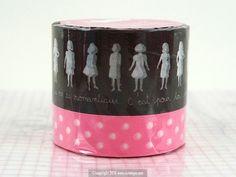 Girl Polka Dot Pattern Coup de Coeur Washi Tape BROWN $8.00