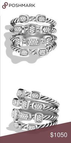 Brand New David Yurman 4 Row Diamond Confetti Ring 100% Authentic. Brand New. Never Worn. David Yurman 4 Row Confetti Ring with Diamonds. Size 7. Sterling silver with .23 ct Diamonds. David Yurman Jewelry Rings