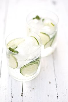 Gin and Tonic with Cucumber, Lime and Mint