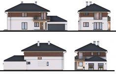 Projekt domu Samba V, wizualizacja 2 Samba, Two Story Homes, Custom Homes, Shed, Outdoor Structures, Mansions, Architecture, House Styles, Building