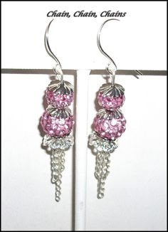 Pink Rhinestone Bead Earrings with Chain by ChainChainChains