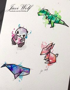 Geometric animals with watercolor wash - trex Javi Wolf, Art Mignon, Inspiration Art, Art Design, Design Ideas, Oeuvre D'art, Cute Art, Watercolor Art, Calligraphy Watercolor