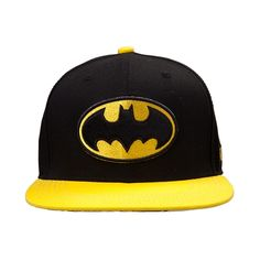 Hats off to superhero style with the new Batman Snapback Cap! Accessorize your noggin with the Batman Cap, sporting an embroidered front logo with crown eyelets for ventilation, contrasting yellow bill with comic book graphics on reverse, and plastic snap-back closure for an adjustable fit. Available for shipment in June; Available only at Journeys!