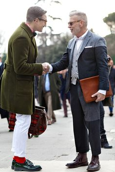 Nick Wooster in another grey wool panel suit. Who makes these suits? Digging the Tricker's, you can spot them a mile away!