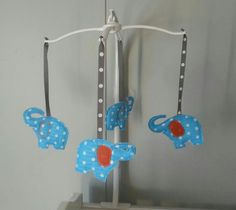 Cute little polka dot elephant mobile i made for my sister in law!