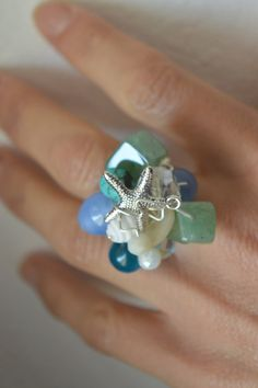 Starfish Ring gorgeous ring blue ring turquoise ring by MiluStore