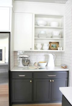Open shelving, gray and white cabinets